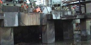 corte em laje de concreto entre redutor e a moenda utilizando serra diamantada