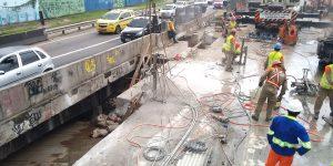 Demolição controlada com serra diamantada e fio diamantado na Ponte em Rodovia