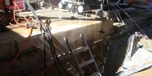 corte e remoção de base de concreto com fio diamantado