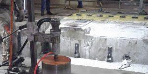 furação com coroa diamantada em laje de concreto - Indústria de papel celulose - Mogi Guaçu - SP