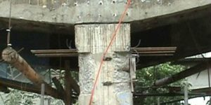 furos com brocas diamantada em base de pilar de concreto