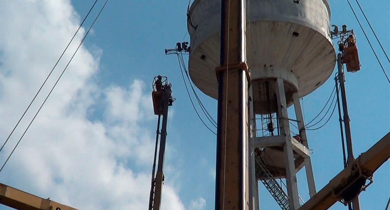 demolição de caixa d'agua controlada com fio diamantado - São Paulo