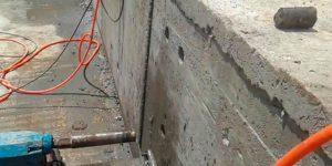 furos em parede de concreto de piscina - Campinas - São Paulo