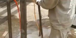 furos em concreto na base sobre prisioneiros - São Joaquim da Barra - São Paulo