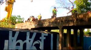 demolição de viaduto ferroviário em Mirassol - São Paulo