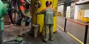 Perfuração com sobreposição em piso - Usina Hidrelétrica - São Paulo