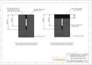 abertura de microvala para instalação de microduto fibra ótica