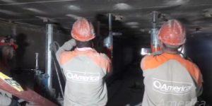 Perfurações em placas de concreto em refratário